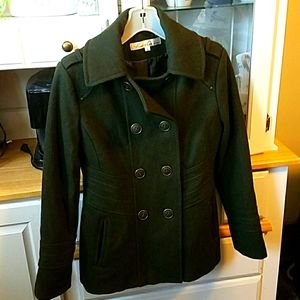 Kenneth Cole wool blend pea coat green size 6